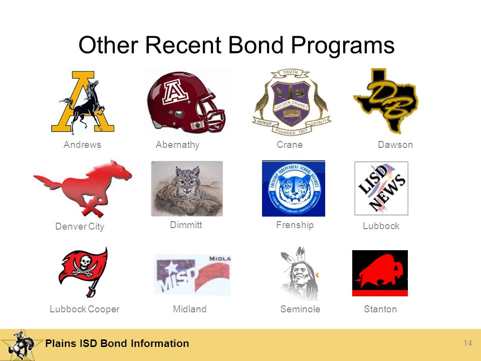14 Plains ISD Bond Information Other Recent Bond Programs Andrews Lubbock AbernathyCraneDawson Denver City DimmittFrenship Lubbock CooperSeminole Midland Stanton