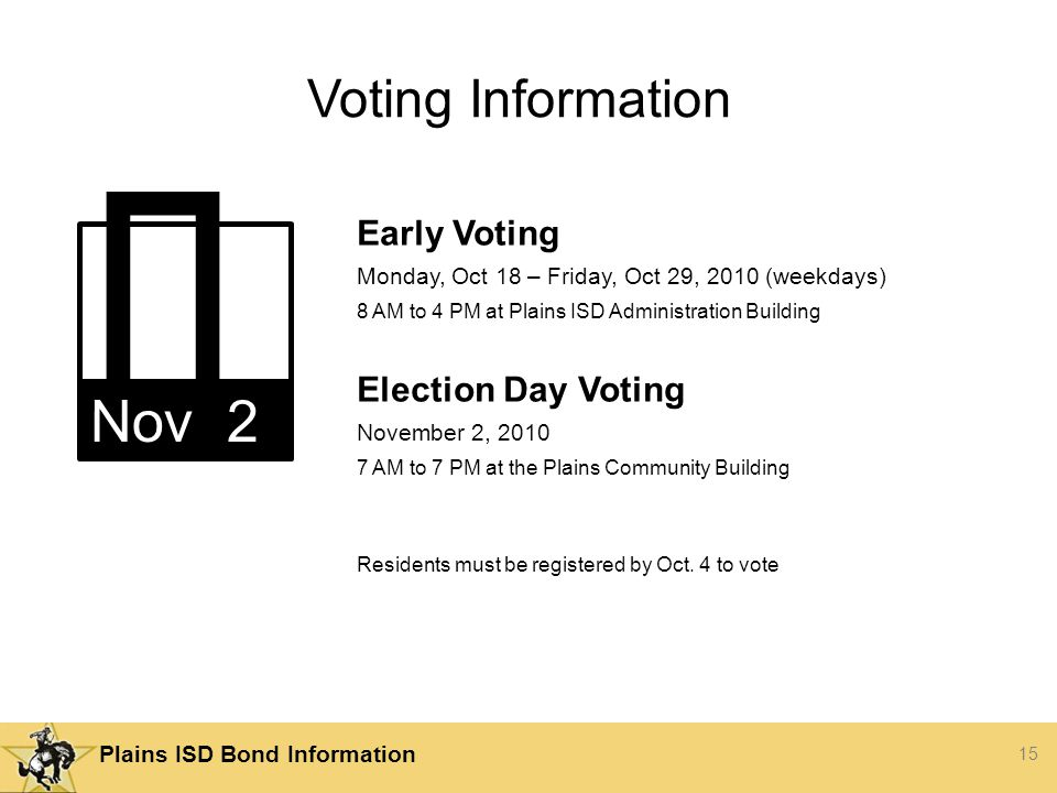 15 Plains ISD Bond Information Voting Information Early Voting Monday, Oct 18 – Friday, Oct 29, 2010 (weekdays) 8 AM to 4 PM at Plains ISD Administration Building Election Day Voting November 2, AM to 7 PM at the Plains Community Building Residents must be registered by Oct.