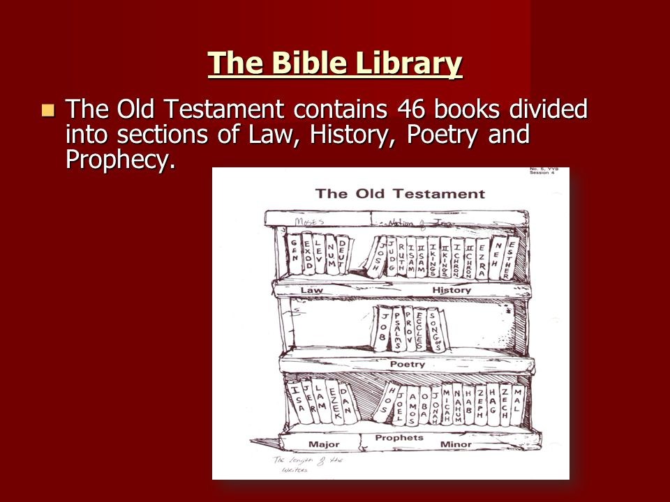 The Bible Library The Old Testament contains 46 books divided into sections of Law, History, Poetry and Prophecy.