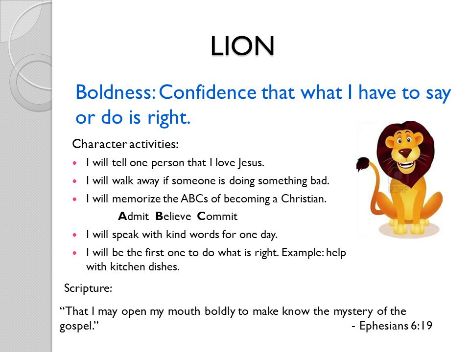 Boldness: Confidence that what I have to say or do is right.