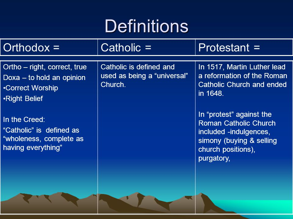 What are the major differences between catholic orthodox and protestant churches