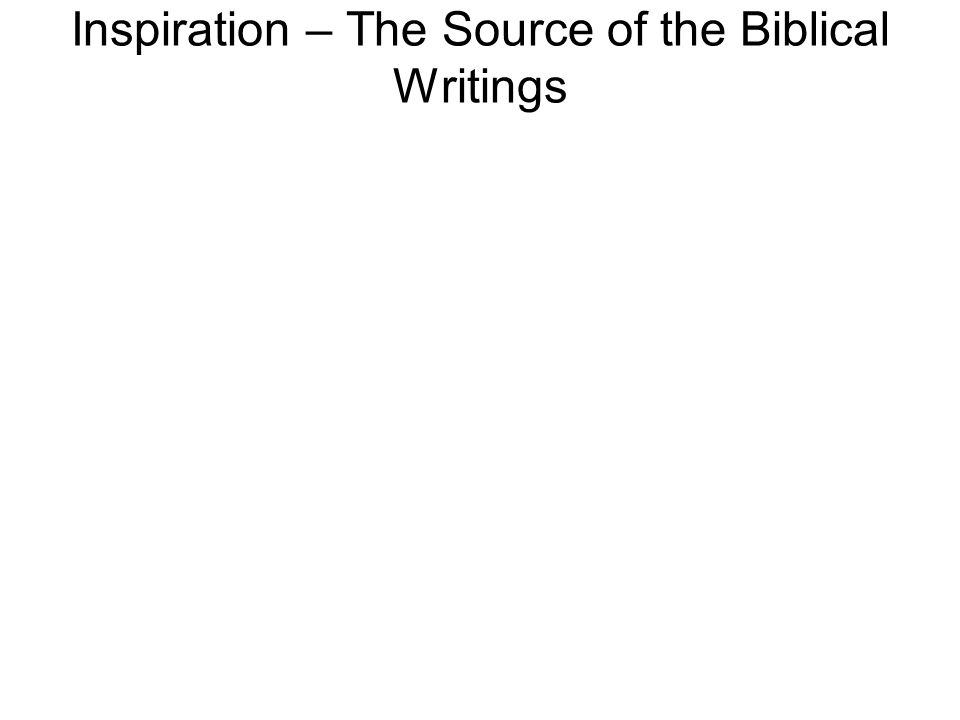 Inspiration – The Source of the Biblical Writings