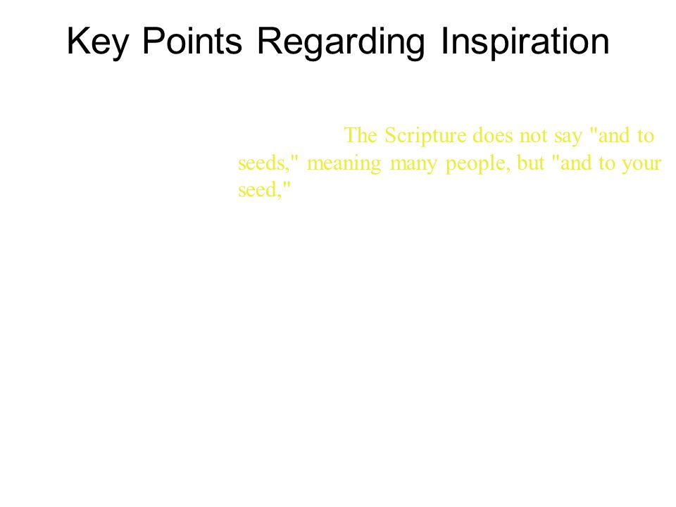 Key Points Regarding Inspiration 16 The promises were spoken to Abraham and to his seed.