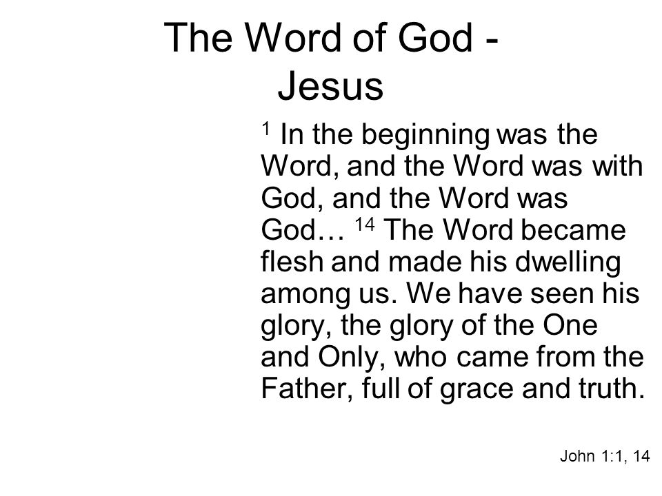 The Word of God - Jesus 1 In the beginning was the Word, and the Word was with God, and the Word was God… 14 The Word became flesh and made his dwelling among us.