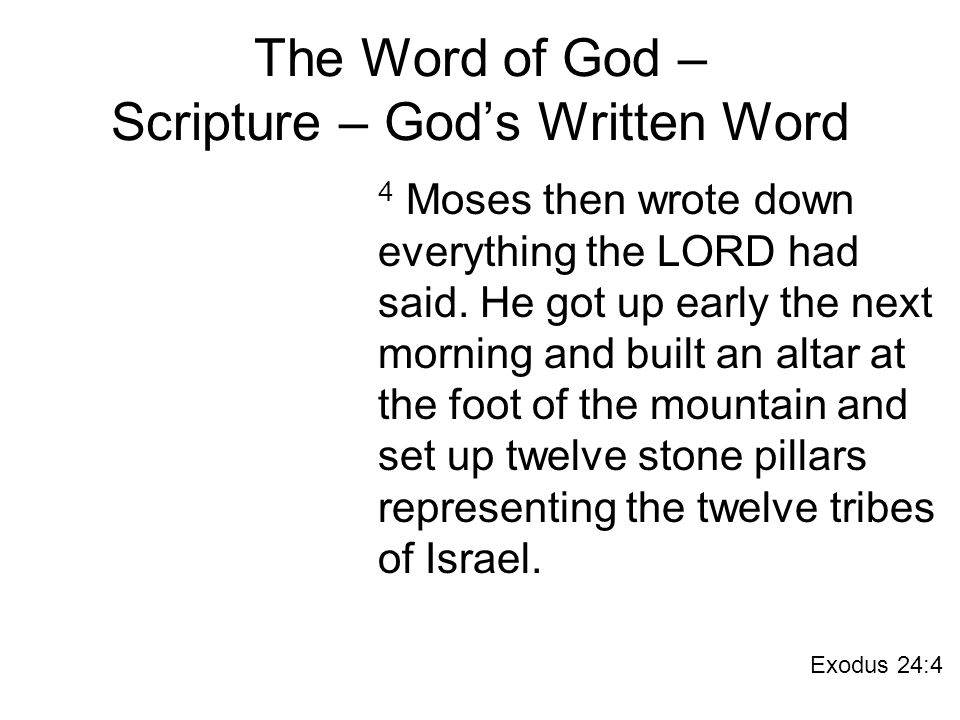 The Word of God – Scripture – God's Written Word 4 Moses then wrote down everything the LORD had said.