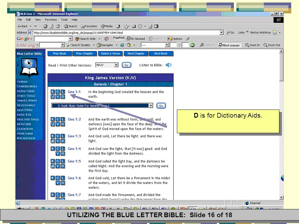16 d is for dictionary aids utilizing the blue letter bible slide 16 of 18