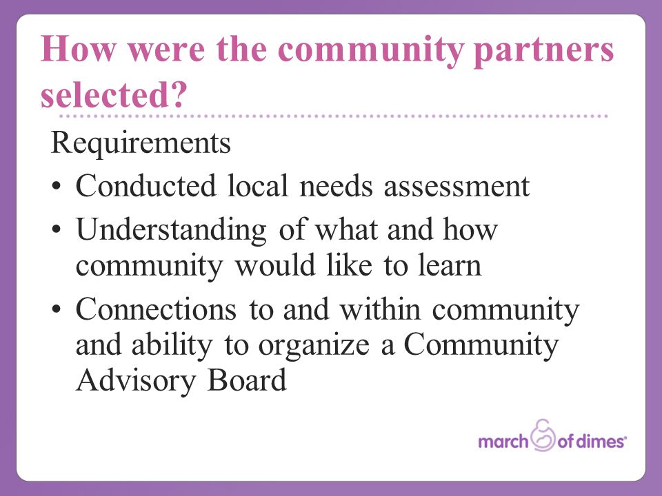 How were the community partners selected.