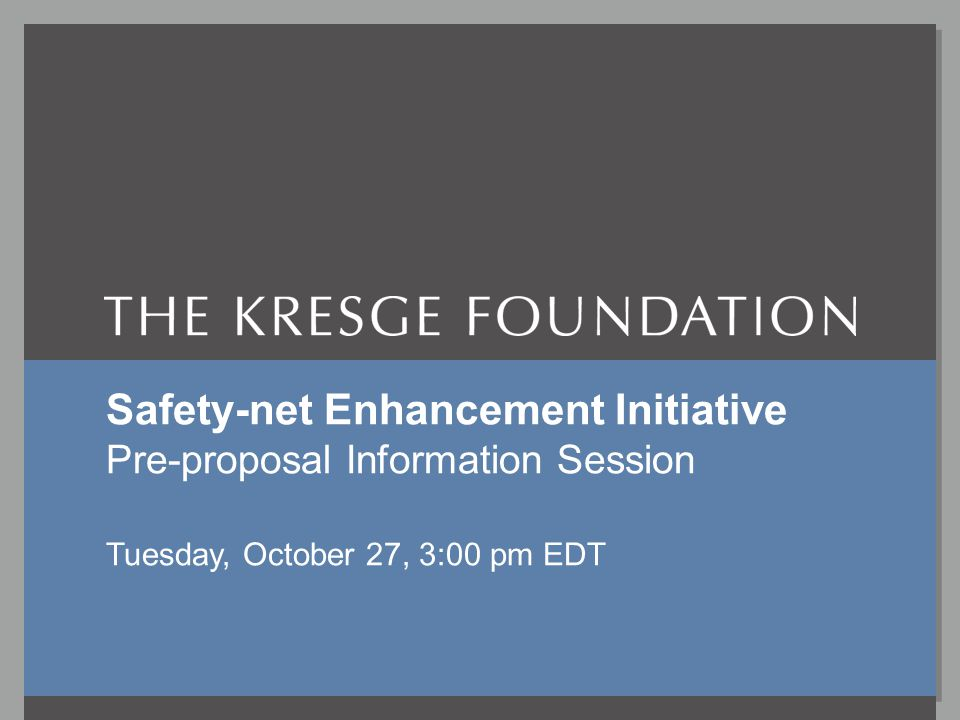 Safety-net Enhancement InitiativeOctober 27, 2009 SNE I Tuesday 10/27/09, 3pm EDT P-r .