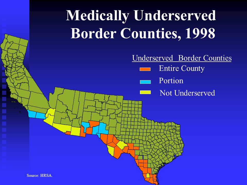 Medically Underserved Border Counties, 1998 Underserved Border Counties Entire County Portion Not Underserved Source: HRSA.