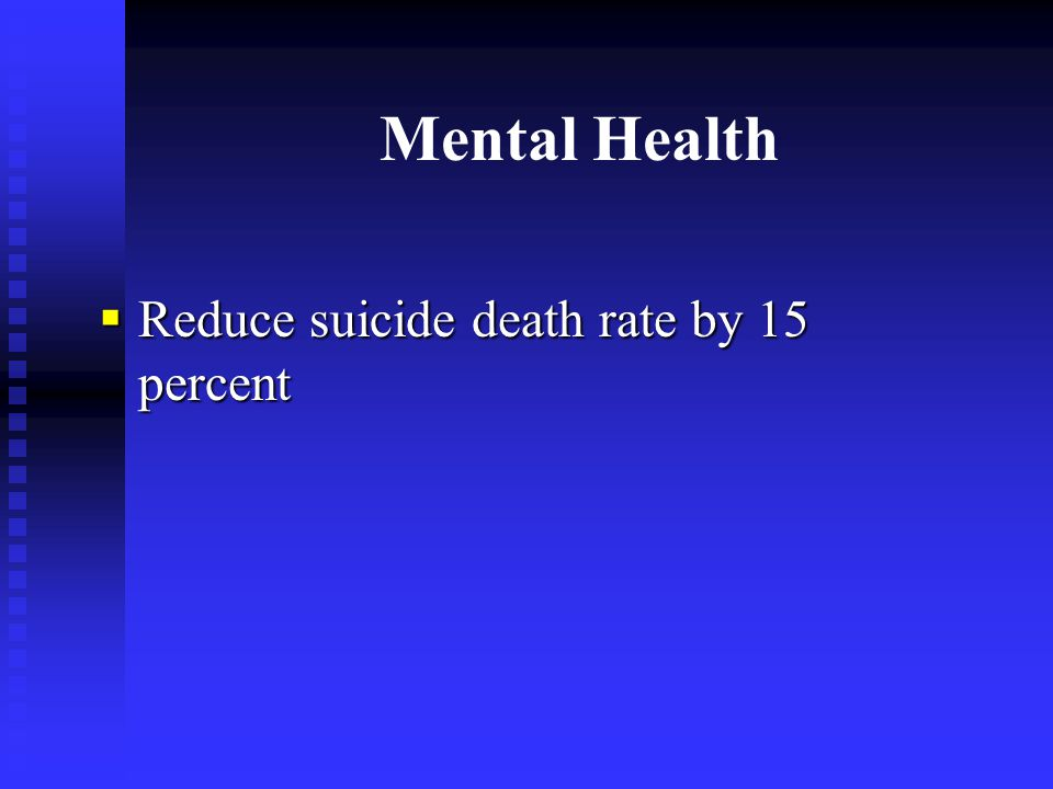 Mental Health  Reduce suicide death rate by 15 percent