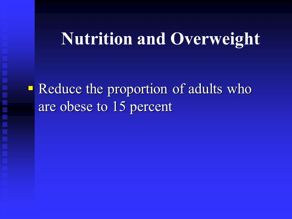 Nutrition and Overweight  Reduce the proportion of adults who are obese to 15 percent