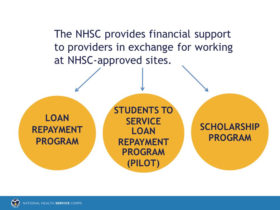 The NHSC provides financial support to providers in exchange for working at NHSC-approved sites.