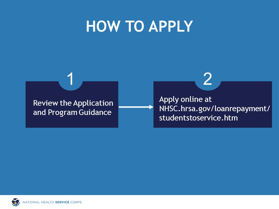 HOW TO APPLY 1 Review the Application and Program Guidance Apply online at NHSC.hrsa.gov/loanrepayment/ studentstoservice.htm 2