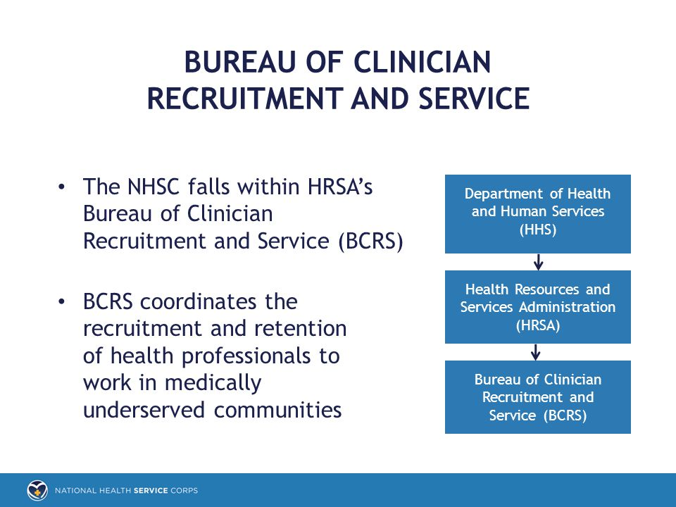 The NHSC falls within HRSA's Bureau of Clinician Recruitment and Service (BCRS) BCRS coordinates the recruitment and retention of health professionals to work in medically underserved communities BUREAU OF CLINICIAN RECRUITMENT AND SERVICE Department of Health and Human Services (HHS) Health Resources and Services Administration (HRSA) Bureau of Clinician Recruitment and Service (BCRS)