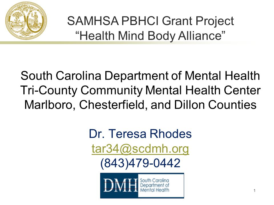 1 South Carolina Department of Mental Health Tri-County Community Mental Health Center Marlboro, Chesterfield, and Dillon Counties Dr.