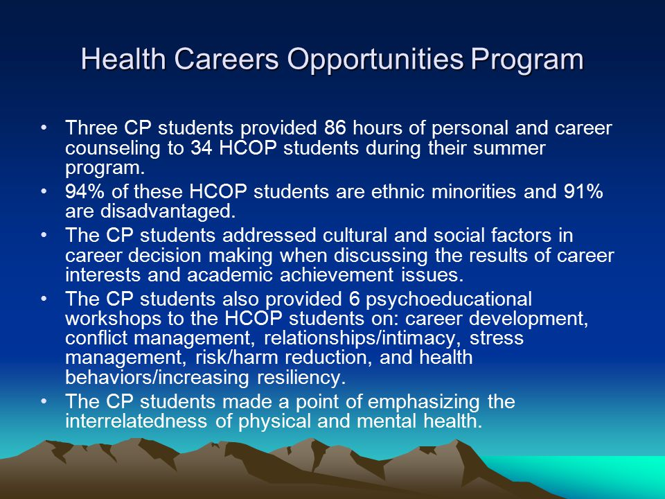 Health Careers Opportunities Program Three CP students provided 86 hours of personal and career counseling to 34 HCOP students during their summer program.