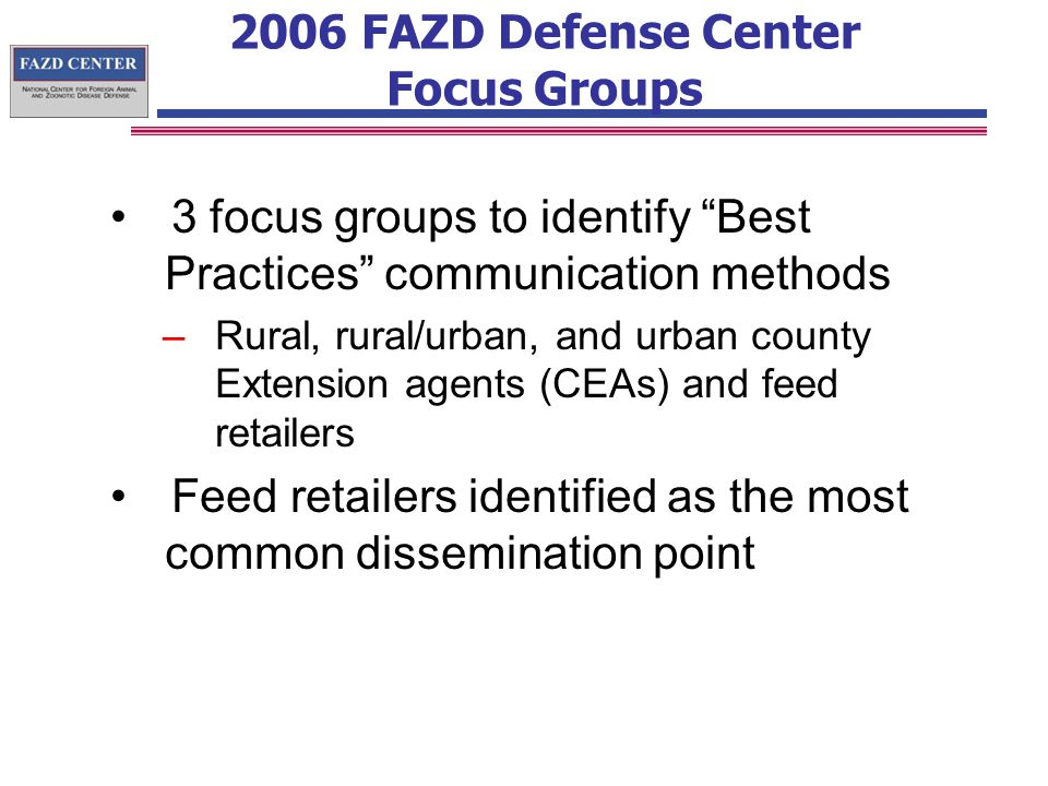 2006 FAZD Defense Center Focus Groups 3 focus groups to identify Best Practices communication methods –Rural, rural/urban, and urban county Extension agents (CEAs) and feed retailers Feed retailers identified as the most common dissemination point