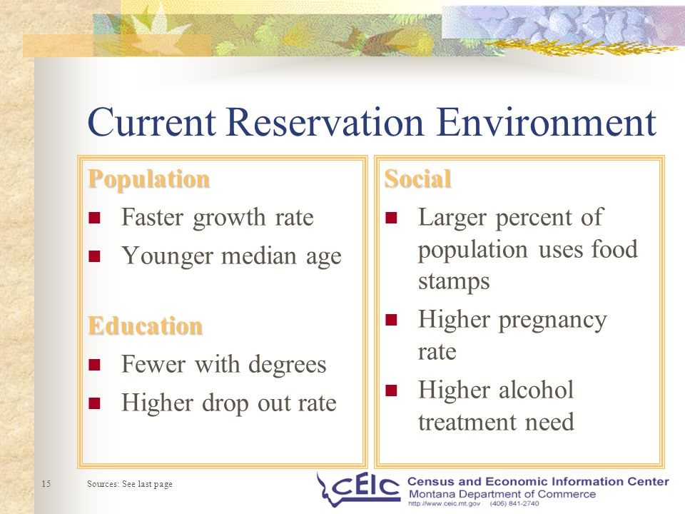 AgeEducation Fewer With Degrees Higher Drop Out RateSocial Larger Percent Of Population Uses Food Stamps Pregnancy Rate Alcohol Treatment