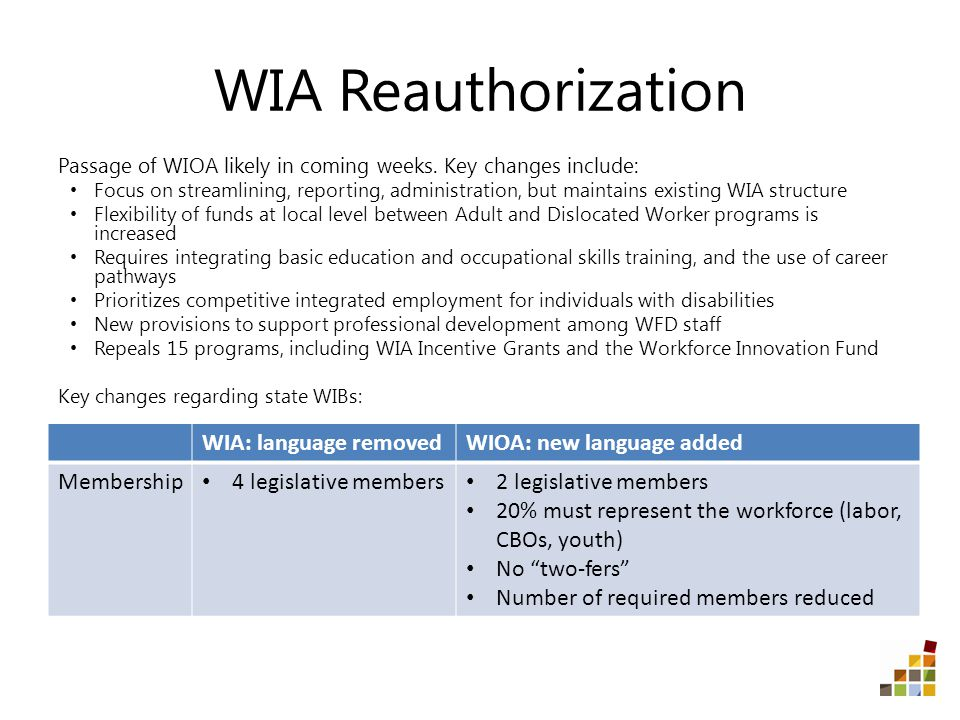 WIA Reauthorization Passage of WIOA likely in coming weeks.