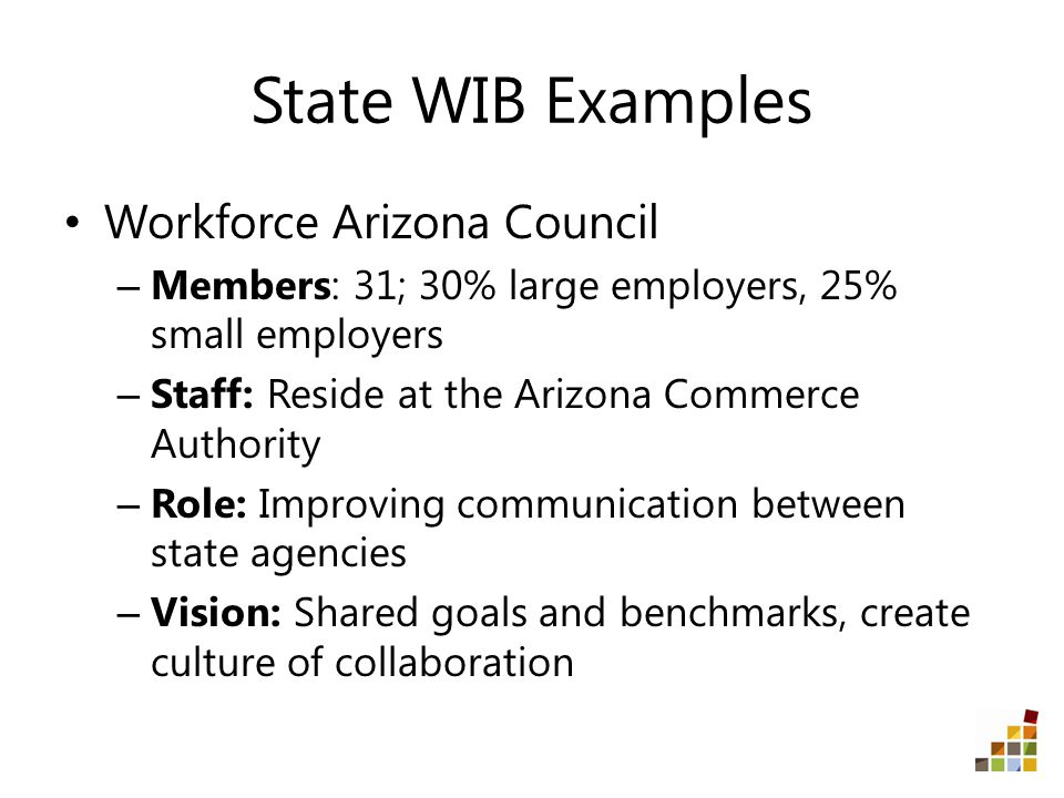 State WIB Examples Workforce Arizona Council – Members: 31; 30% large employers, 25% small employers – Staff: Reside at the Arizona Commerce Authority – Role: Improving communication between state agencies – Vision: Shared goals and benchmarks, create culture of collaboration