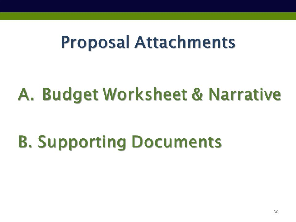 Proposal Attachments A.Budget Worksheet & Narrative B. Supporting Documents 30
