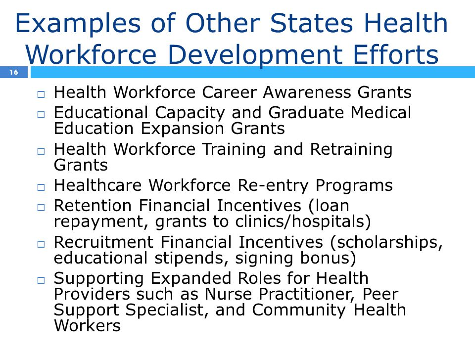Examples of Other States Health Workforce Development Efforts 16  Health Workforce Career Awareness Grants  Educational Capacity and Graduate Medical Education Expansion Grants  Health Workforce Training and Retraining Grants  Healthcare Workforce Re-entry Programs  Retention Financial Incentives (loan repayment, grants to clinics/hospitals)  Recruitment Financial Incentives (scholarships, educational stipends, signing bonus)  Supporting Expanded Roles for Health Providers such as Nurse Practitioner, Peer Support Specialist, and Community Health Workers