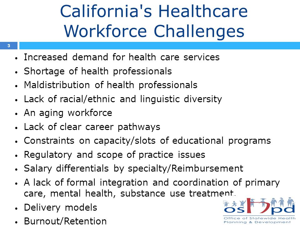 California s Healthcare Workforce Challenges Increased demand for health care services Shortage of health professionals Maldistribution of health professionals Lack of racial/ethnic and linguistic diversity An aging workforce Lack of clear career pathways Constraints on capacity/slots of educational programs Regulatory and scope of practice issues Salary differentials by specialty/Reimbursement A lack of formal integration and coordination of primary care, mental health, substance use treatment.