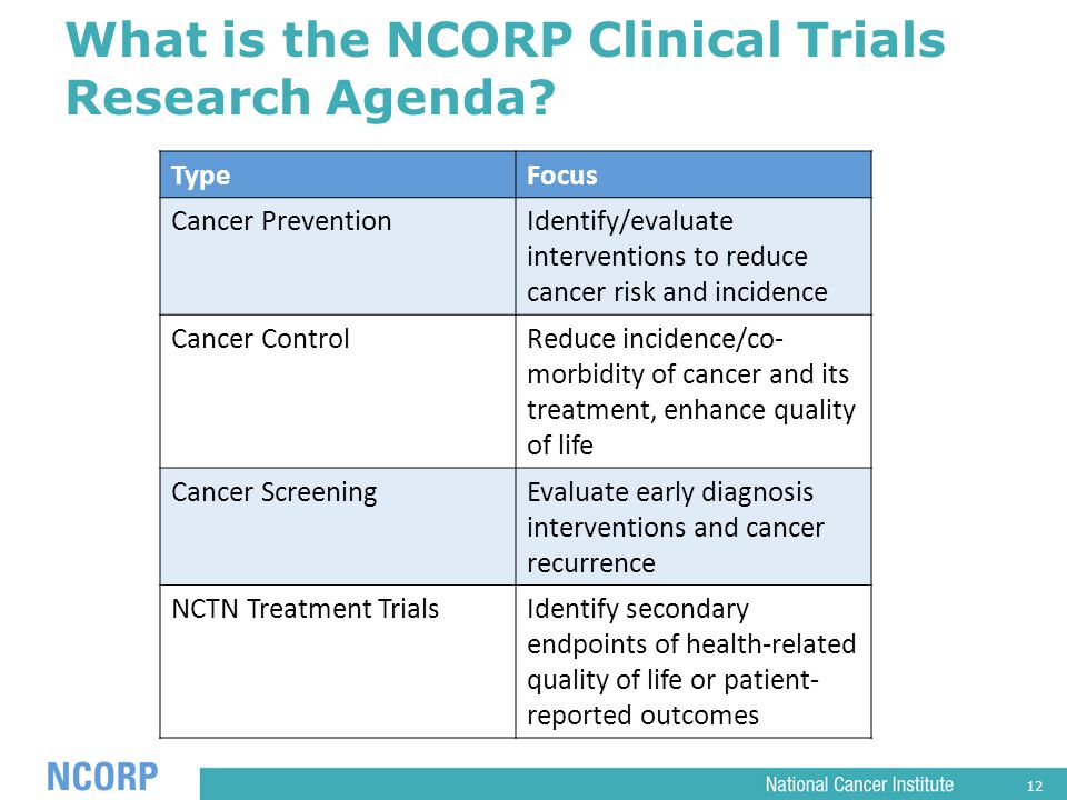 12 What is the NCORP Clinical Trials Research Agenda.