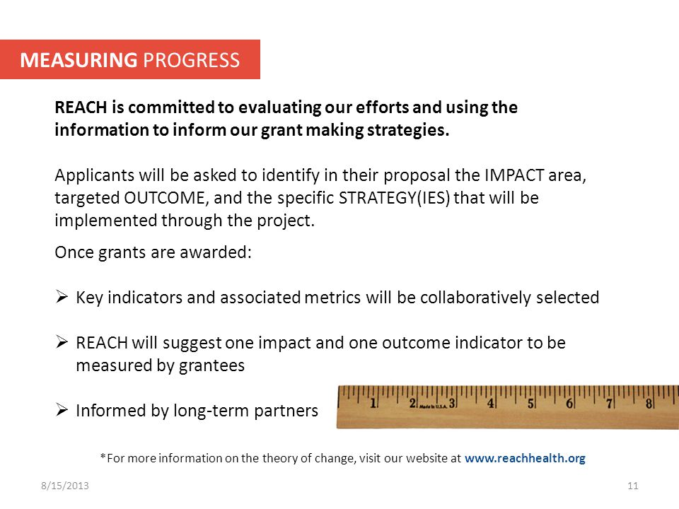 REACH is committed to evaluating our efforts and using the information to inform our grant making strategies.