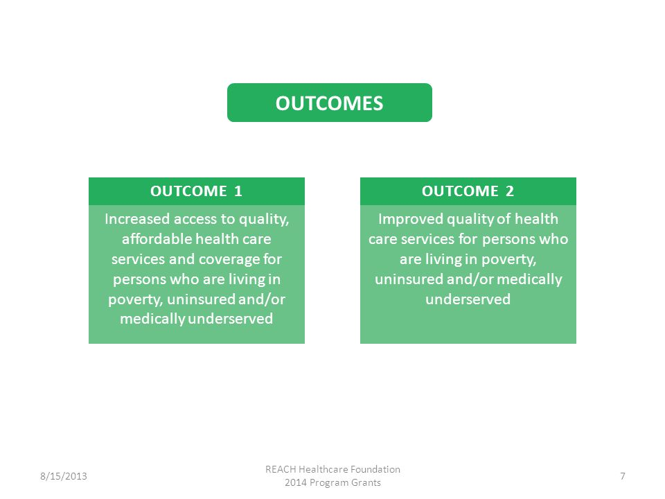 OUTCOME 1 Increased access to quality, affordable health care services and coverage for persons who are living in poverty, uninsured and/or medically underserved OUTCOME 2 Improved quality of health care services for persons who are living in poverty, uninsured and/or medically underserved 8/15/2013 REACH Healthcare Foundation 2014 Program Grants 7 OUTCOMES