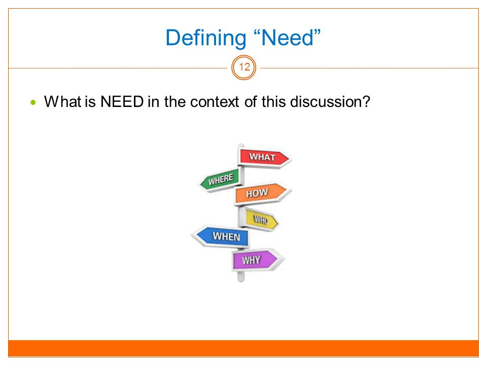 Defining Need What is NEED in the context of this discussion 12