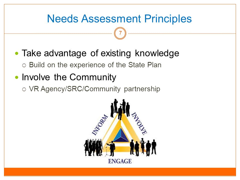Needs Assessment Principles Take advantage of existing knowledge  Build on the experience of the State Plan Involve the Community  VR Agency/SRC/Community partnership 7