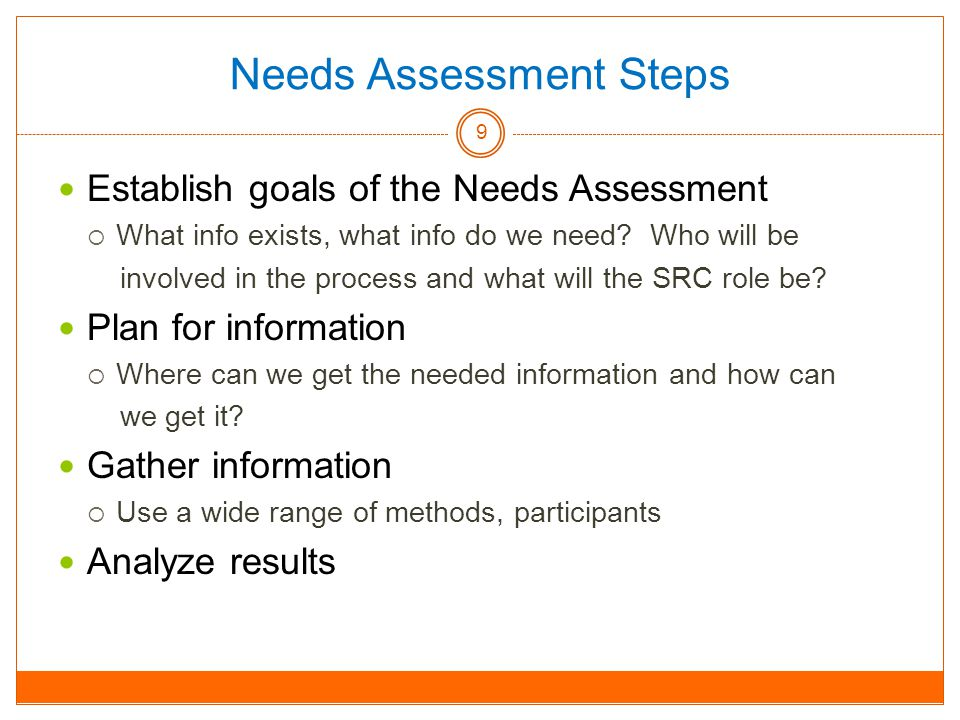 Needs Assessment Steps Establish goals of the Needs Assessment  What info exists, what info do we need.