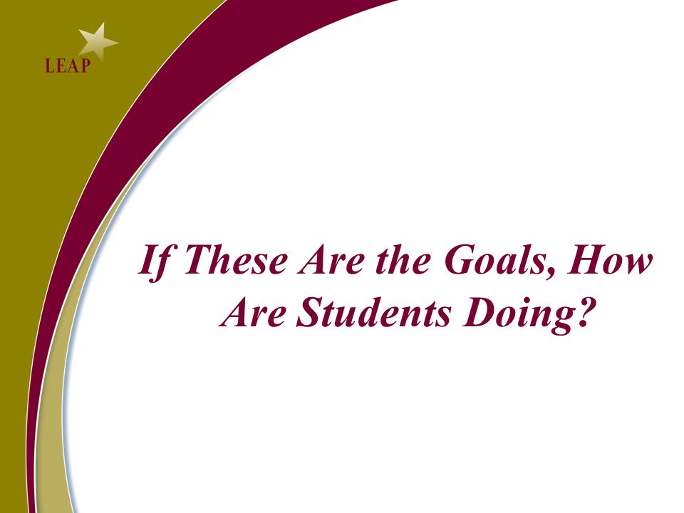 If These Are the Goals, How Are Students Doing