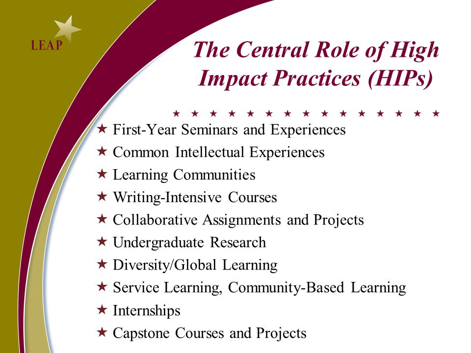 The Central Role of High Impact Practices (HIPs)  First-Year Seminars and Experiences  Common Intellectual Experiences  Learning Communities  Writing-Intensive Courses  Collaborative Assignments and Projects  Undergraduate Research  Diversity/Global Learning  Service Learning, Community-Based Learning  Internships  Capstone Courses and Projects