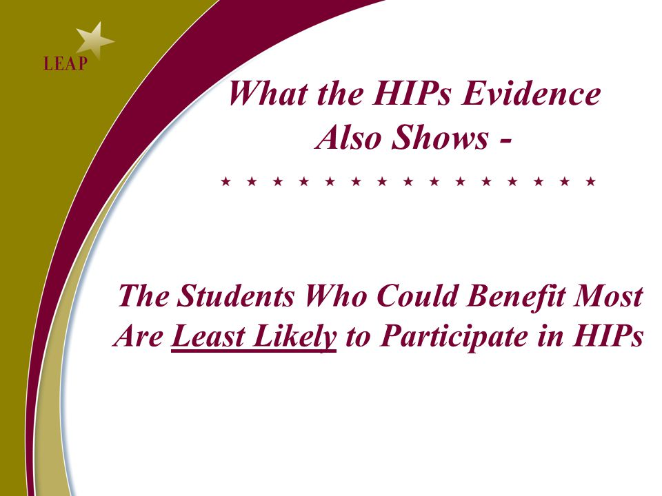 What the HIPs Evidence Also Shows - The Students Who Could Benefit Most Are Least Likely to Participate in HIPs