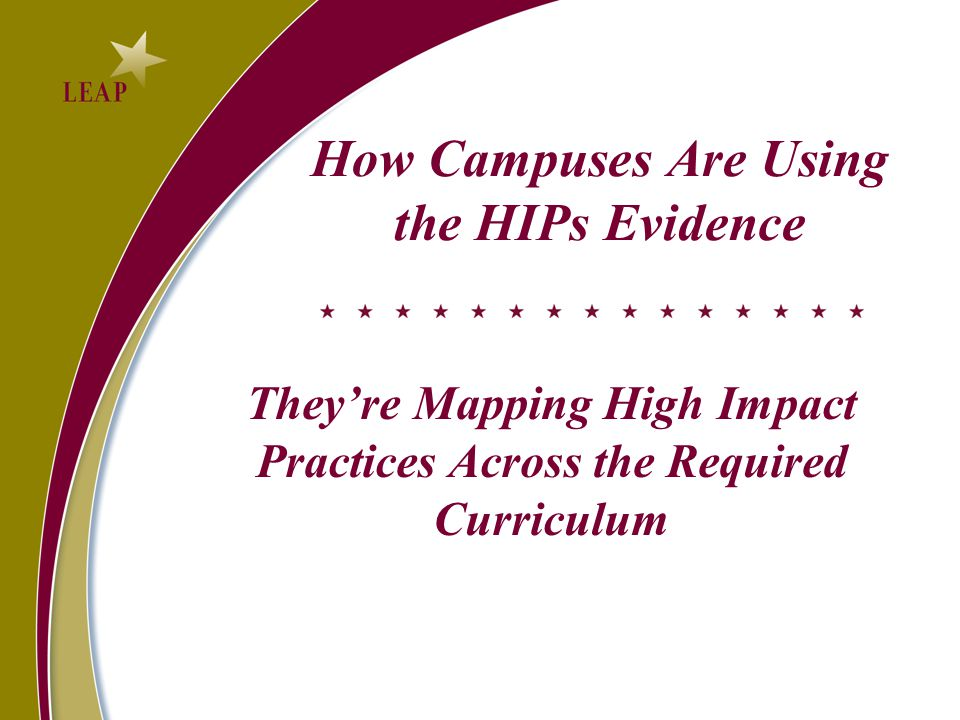 How Campuses Are Using the HIPs Evidence They're Mapping High Impact Practices Across the Required Curriculum