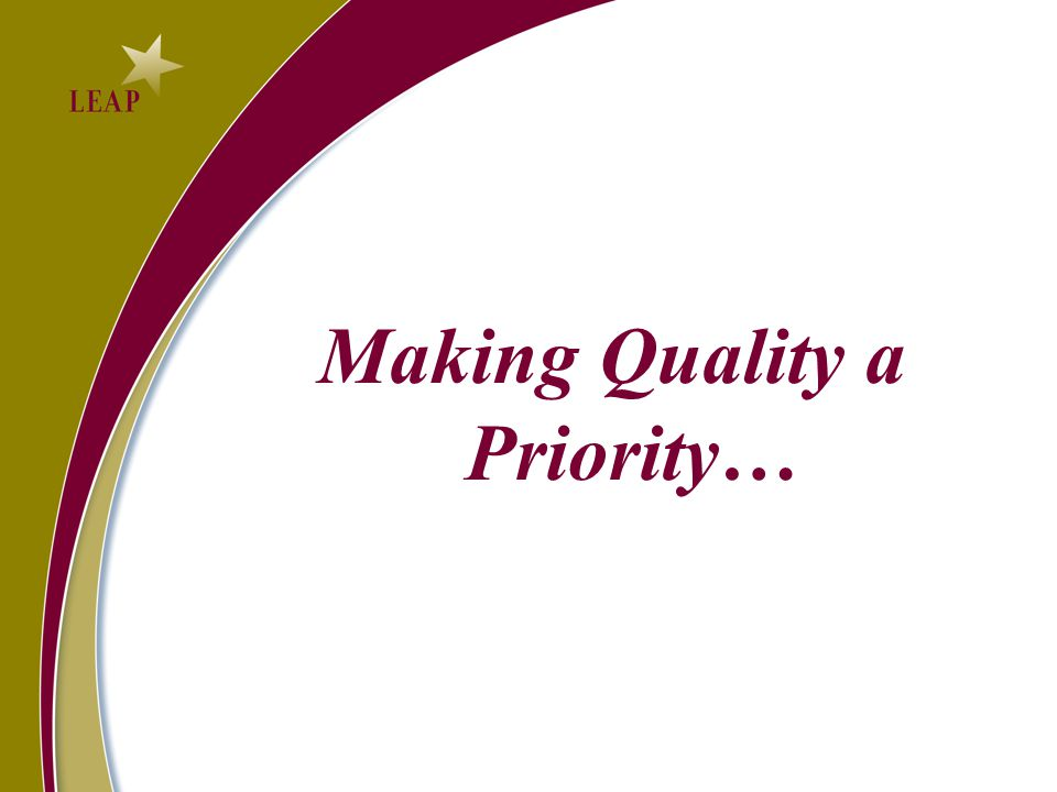Making Quality a Priority…