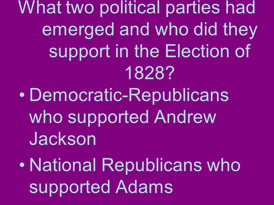 What two political parties had emerged and who did they support in the Election of 1828.