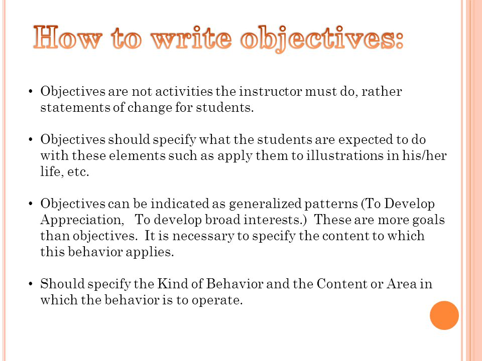 Objectives are not activities the instructor must do, rather statements of change for students.