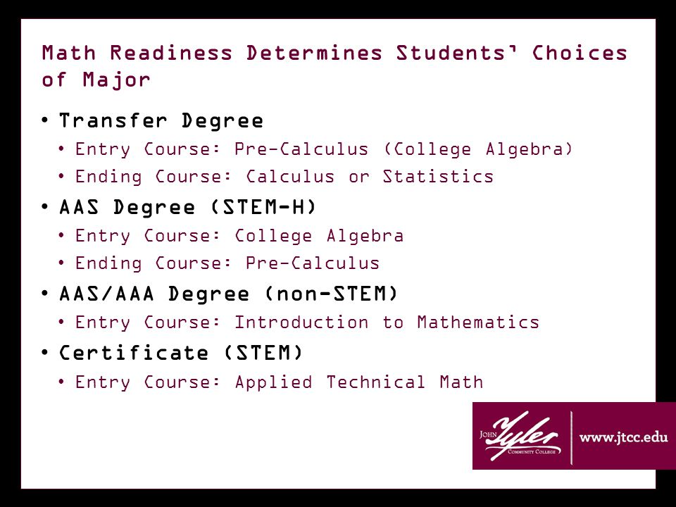 Math Readiness Determines Students' Choices of Major Transfer Degree Entry Course: Pre-Calculus (College Algebra) Ending Course: Calculus or Statistics AAS Degree (STEM-H) Entry Course: College Algebra Ending Course: Pre-Calculus AAS/AAA Degree (non-STEM) Entry Course: Introduction to Mathematics Certificate (STEM) Entry Course: Applied Technical Math