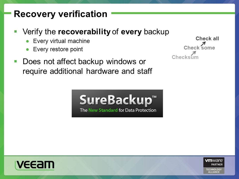 Recovery verification  Verify the recoverability of every backup ●Every virtual machine ●Every restore point  Does not affect backup windows or require additional hardware and staff Check all Check some Checksum