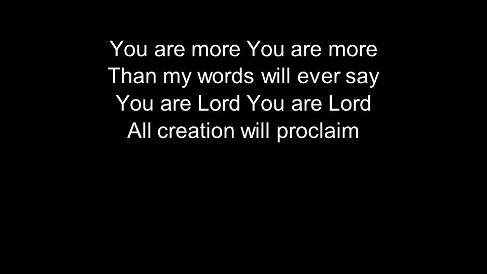 You are more Than my words will ever say You are Lord All creation will proclaim You are more Than my words will ever say You are Lord All creation will proclaim