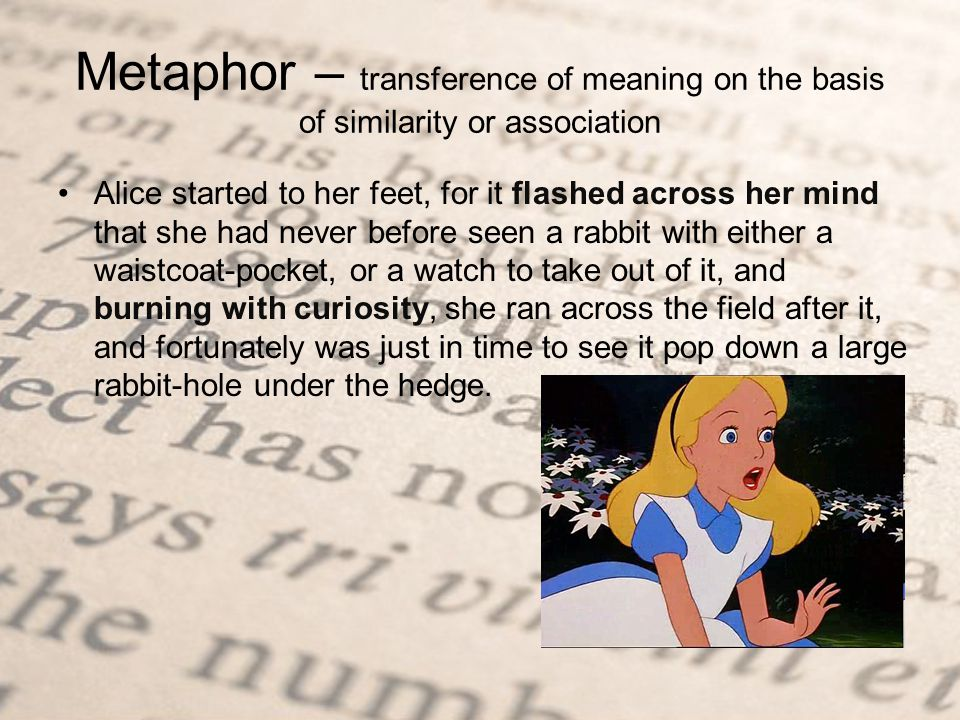 Metaphor – transference of meaning on the basis of similarity or association Alice started to her feet, for it flashed across her mind that she had never before seen a rabbit with either a waistcoat-pocket, or a watch to take out of it, and burning with curiosity, she ran across the field after it, and fortunately was just in time to see it pop down a large rabbit-hole under the hedge.