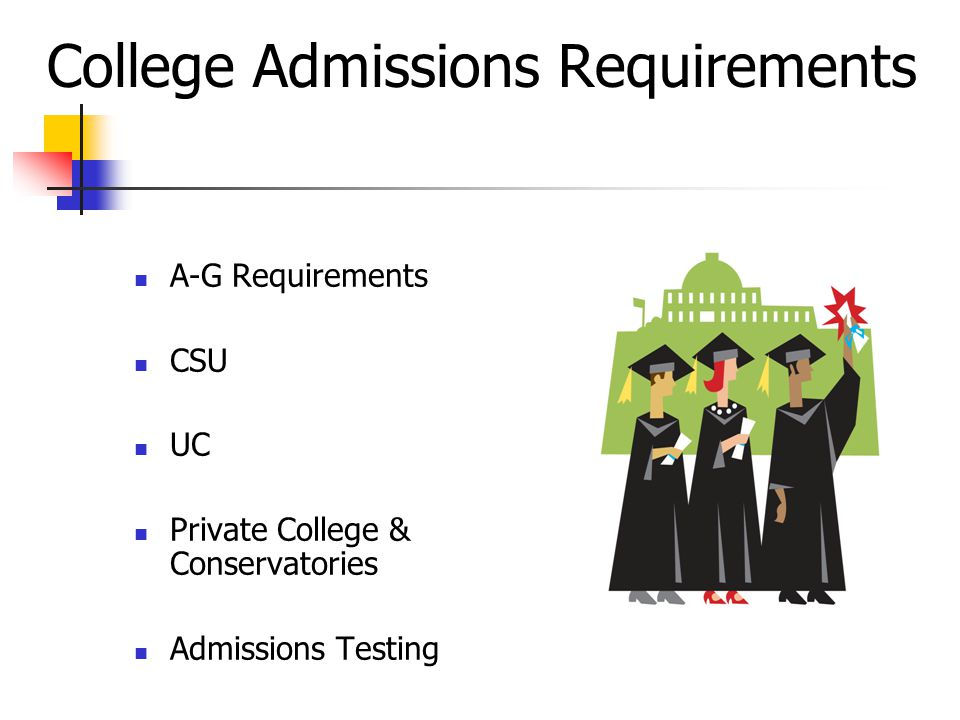 College Admissions Requirements A-G Requirements CSU UC Private College & Conservatories Admissions Testing