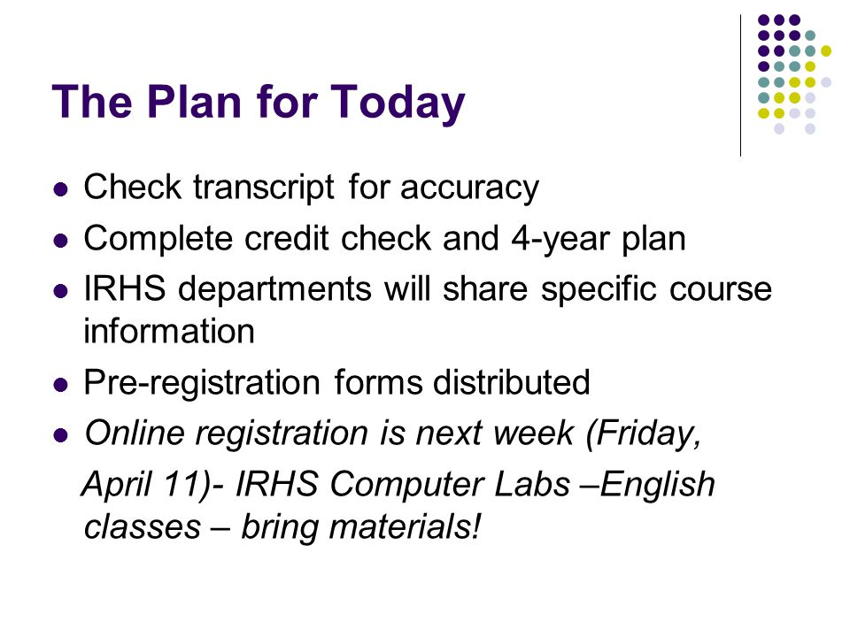 The Plan for Today Check transcript for accuracy Complete credit check and 4-year plan IRHS departments will share specific course information Pre-registration forms distributed Online registration is next week (Friday, April 11)- IRHS Computer Labs –English classes – bring materials!