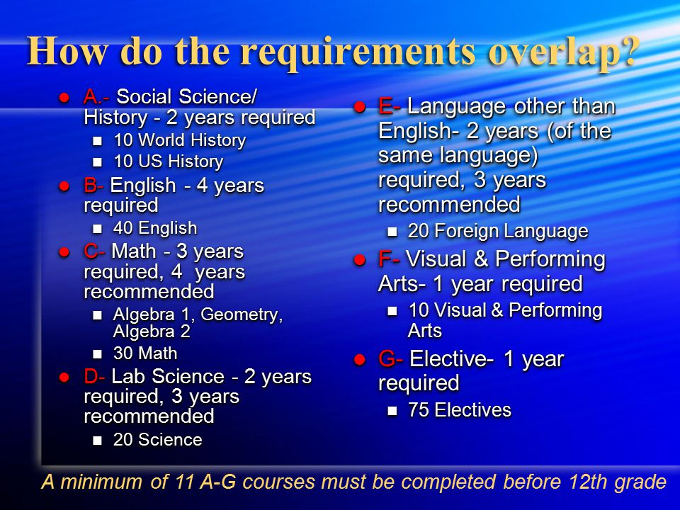 What are the A-G requirements.