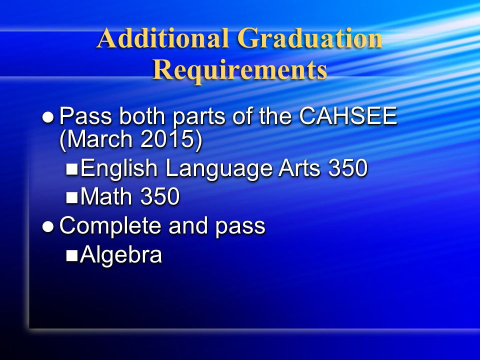 Graduation Requirement Math You must pass all classes with a grade of D or better to earn 5 credits toward graduation In order to earn 230 credits in four years you must pass every class, every semester.