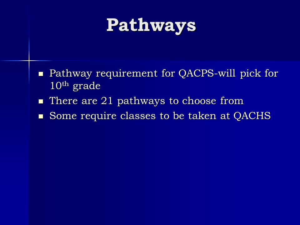 Pathways Pathway requirement for QACPS-will pick for 10 th grade Pathway requirement for QACPS-will pick for 10 th grade There are 21 pathways to choose from There are 21 pathways to choose from Some require classes to be taken at QACHS Some require classes to be taken at QACHS
