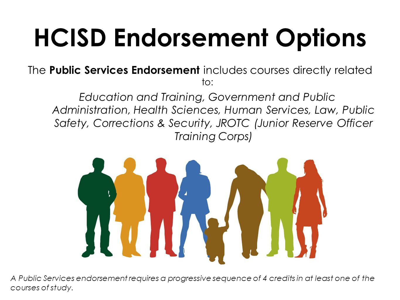 HCISD Endorsement Options The Public Services Endorsement includes courses directly related to: Education and Training, Government and Public Administration, Health Sciences, Human Services, Law, Public Safety, Corrections & Security, JROTC (Junior Reserve Officer Training Corps) A Public Services endorsement requires a progressive sequence of 4 credits in at least one of the courses of study.